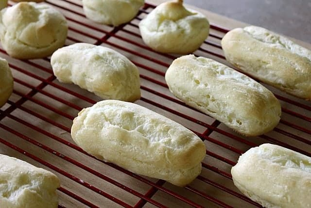 Choux Pastry Baked into Eclair Shapes