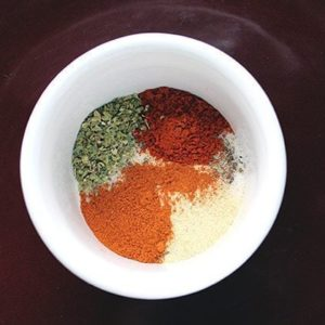 top down shot of Spice Rub for Beef in a white cup