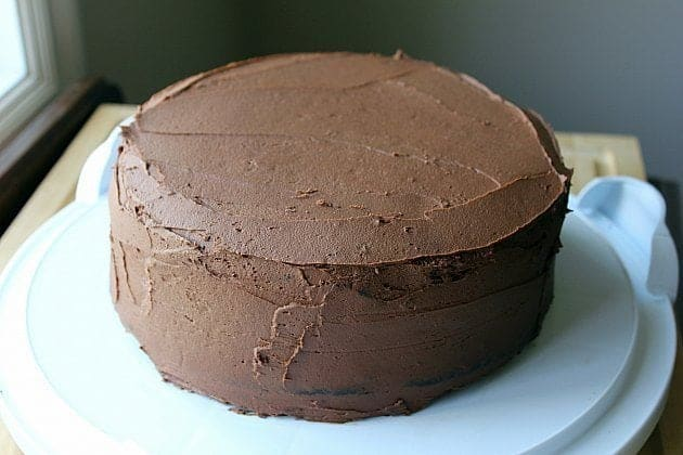 round chocolate cake with Chocolate Buttercream Icing