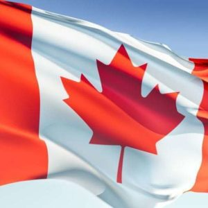 close up flag of Canada