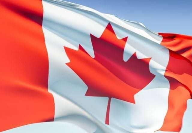 close up flag of Canada