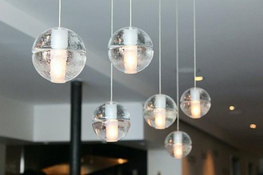 close up of sphere pendant lights