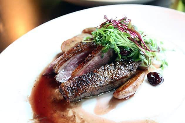 Millcreek Culina's  duck breast paired with a sweet cherry sauce