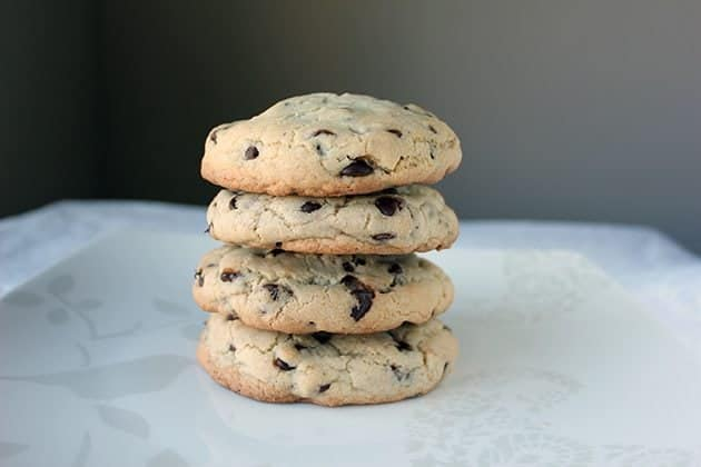 stack of large chocolate chip cookies