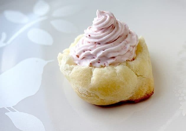 Strawberry Whipped Cream on top of cream puff