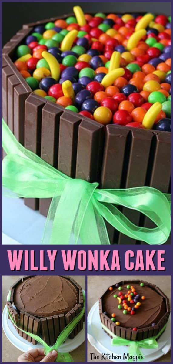 How to assemble a Willy Wonka Cake with a rich, sweet, dark, moist, best chocolate cake and Willy Wonka Runts candy and candy bars. #willywonka #cake