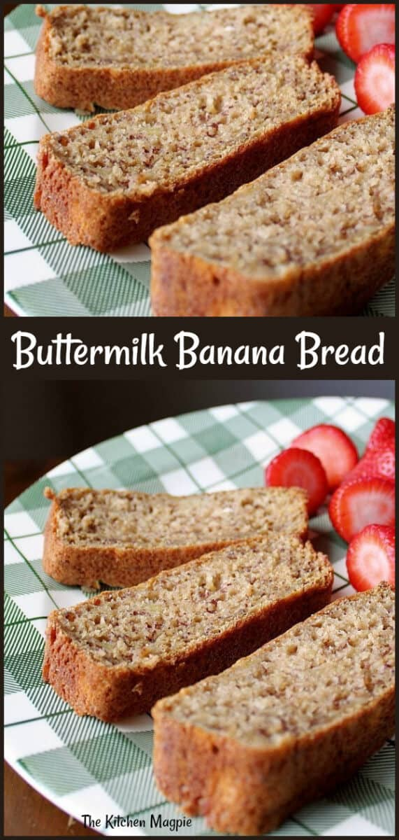 This Buttermilk Banana Bread is a healthier take on banana bread using applesauce and buttermilk and is amazingly moist and delicious! #bananabread #banana #buttermilk