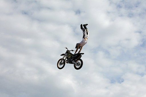 flying so high in the air with the motorbike