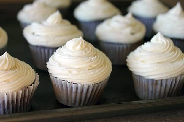 Grape Soda Pop Cupcakes with Buttercream Icing on top