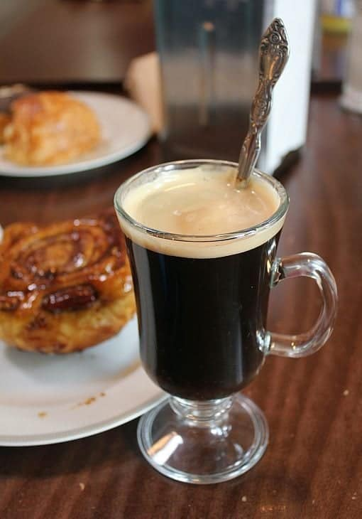 glass filled with plain coffee