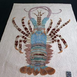close up of a lobster rug