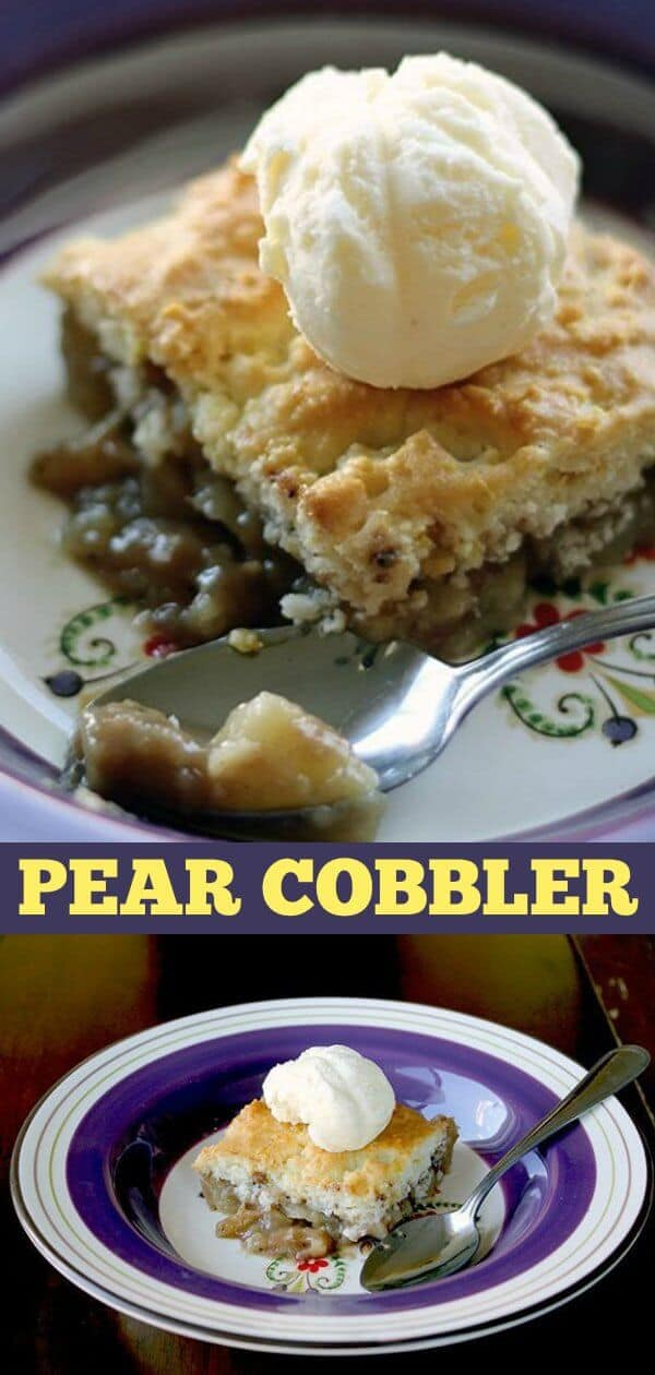 Cinnamon, spice and a lemon scone topping give this pear cobbler a lovely zing! #pears #fall #autumn #baking #cobbler #dessert #recipe #sweet #treat #icecream