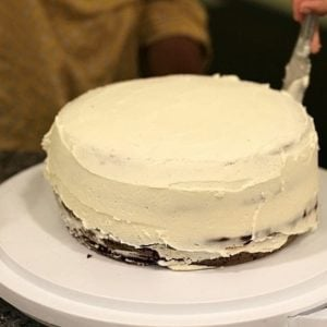 two layers of chocolate cake with vanilla frosting