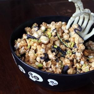 Buggy Caramel Popcorn in spooky black bowl