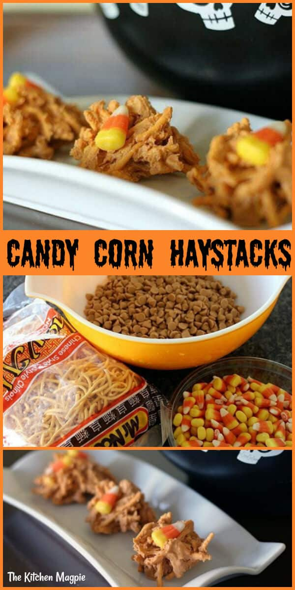 3 pieces Candy Corn Haystacks and its ingredients