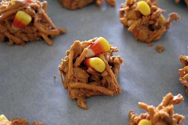 large sized haystacks dropped on parchment paper