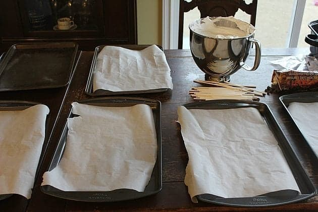 parchment paper lined sheets on the table