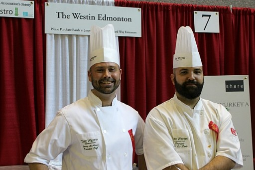 two handsome gents wearing their white chef uniform