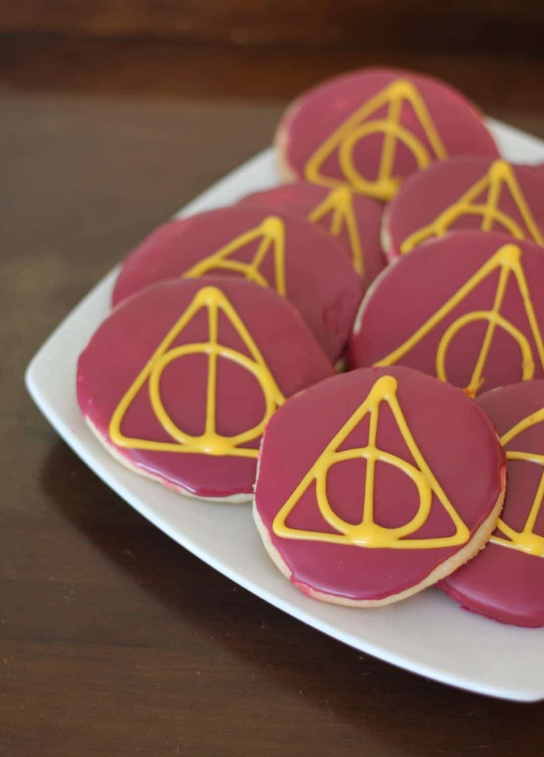 Deathly Hallows sugar cookies in a white plate