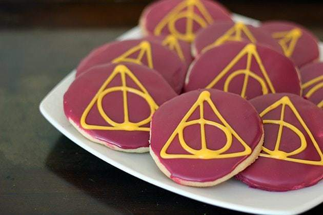 Harry Potter Deathly Hallows Sugar Cookies in a white plate