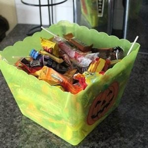 green container full of candies