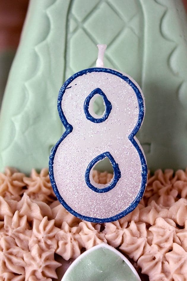 number 8 candle on a harry potter cake