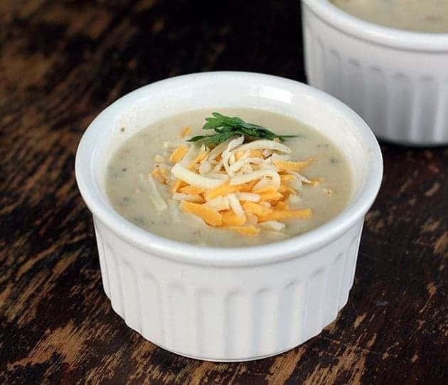 Cheesy Bacon Potato Soup in White Ramekins