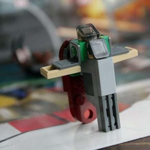 close up of boba fett spaceship lego