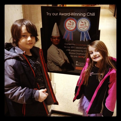 kids in front of award winning chili details