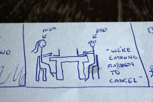 stick figure of Mom and Dad in a table with laptop