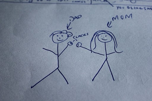 stick figure of Dad and Mom