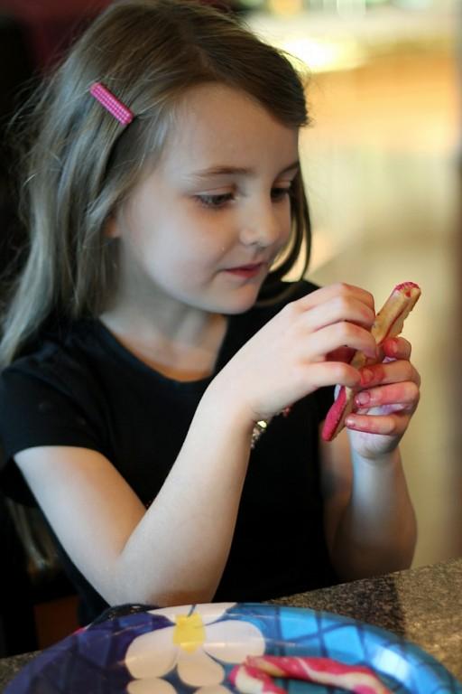 close up of little girl wearing black shirt