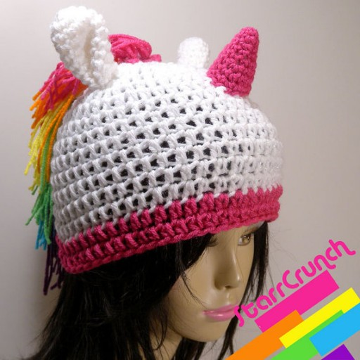 knitted unicorn hat in mannequin