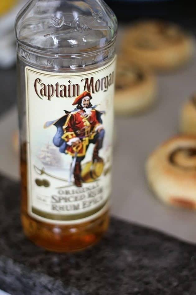 a bottle of Captain Morgan brand rum
