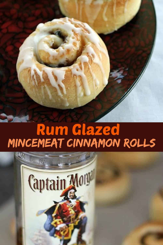 These Rum Glazed Mincemeat Cinnamon Buns are the BEST Christmas treat! #christmas #cinnamonrolls #rum #mincemeat