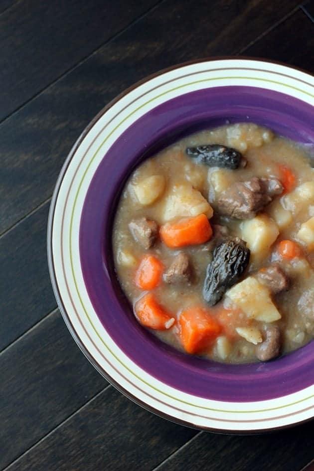top down shot of Elk & Morel Stew in a Plate bowl with violet print