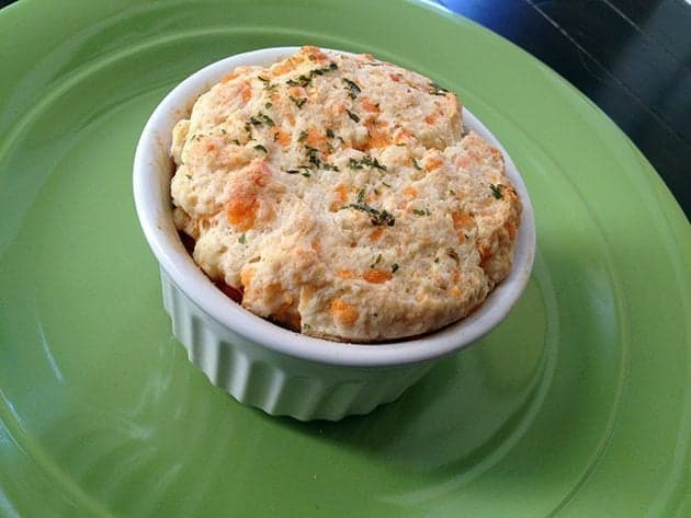 Mini Chicken Pot Pies in White Ramekins Topped with Best Biscuits Ever