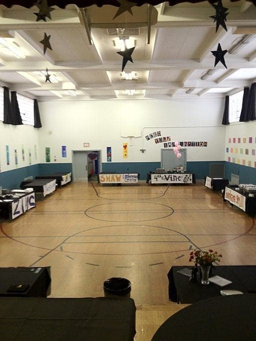 the school gym all set up for the cook off event