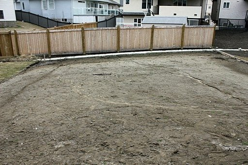 the back yard with lots of vacant spaces