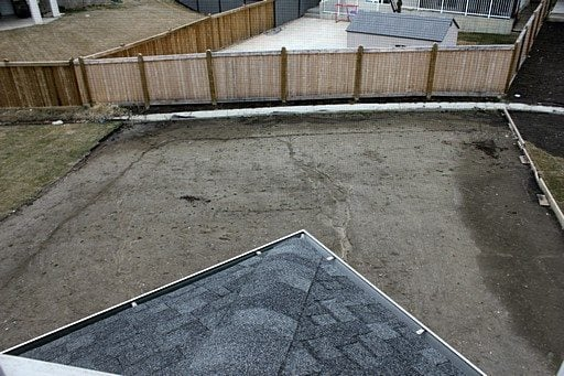 the aerial view of the back yard