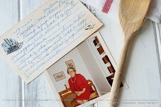 pineapple pie recipe note and a photograph of lady wearing red
