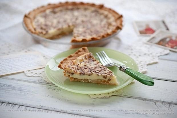 Pineapple Cream Cheese Pie in a plate with fork and in the Pyrex pie pan