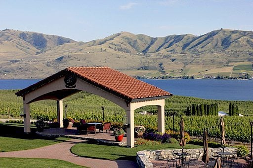 beautiful view of mountains, lake and plantation from Benson Vineyards Estate Winery