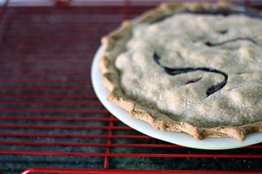 freshly baked Rhubarb Saskatoon Pie on a red cooling rack