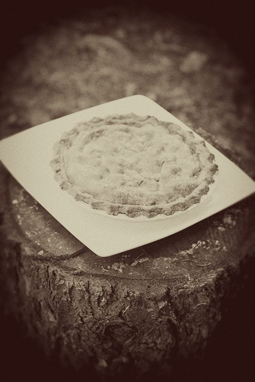 saskatoon pie on top of wood cut out