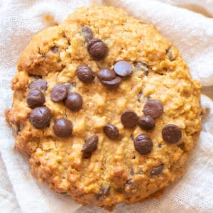 Whole Wheat Oatmeal Chocolate Chip Cookie on a white cloth background