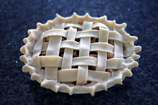 pie with a lovely lattice top and a little spiky on the sides