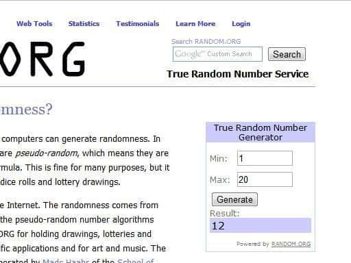 Random.Org number generator
