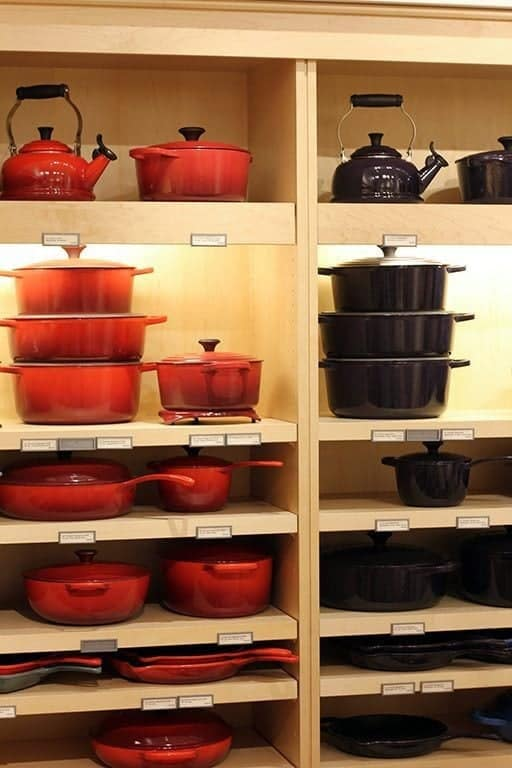 Le Creuset in Aubergine - collection of cookwares in the shelves