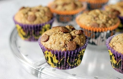 Peanut Butter Cup Banana Muffins in spooky muffin liners